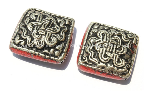 2 Beads - Large Tibetan Repousse Tibetan Silver Endless Knot Beads with Coral Side Inlays - Big Square Focal Beads - B2265-2
