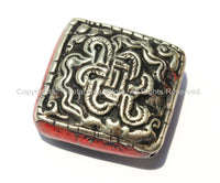 1 Bead - Large Tibetan Repousse Tibetan Silver Endless Knot Bead with Coral Side Inlays - Big Square Focal Bead - B2265-1