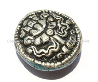 1 Bead - Big Tibetan Repousse Carved Tibetan Silver Auspicious Lotus Round Disc Shape Bead with Turquoise Side Inlays -  B2280-1