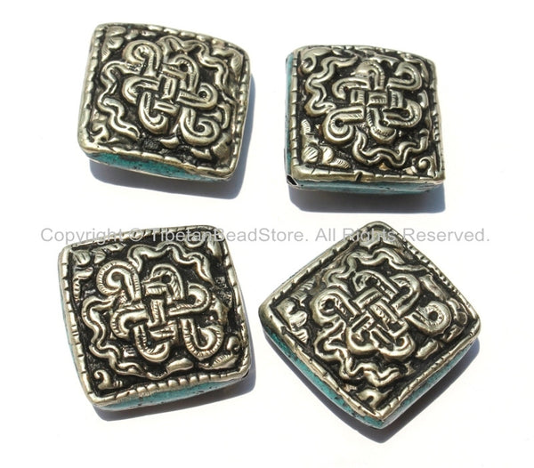 4 Beads - Large Tibetan Repousse Tibetan Silver Endless Knot Beads with Turquoise Side Inlays- Big Square Diamond Shape Focal Beads- B2255-4
