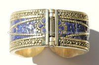 Handmade LARGE Ethnic Tibetan Hinged Bracelet Cuff with Lapis Inlays - Ethnic Tibetan Jewelry - C98