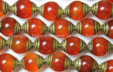 2 BEADS - Tibetan Carnelian Beads with Brass Caps - Ethnic Handmade Tibetan Beads - B1409-2