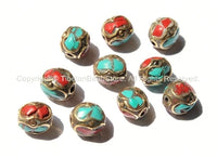 10 beads - Tibetan Oval Beads with Brass, Turquoise, Coral Inlay - Ethnic Nepalese Tibetan Brass Inlay Beads - B1388-10