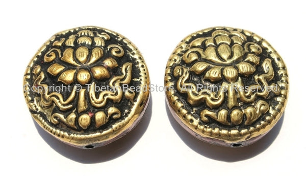 2 Beads - Big Tibetan Repousse Carved Brass Auspicious Lotus Round Disc Shape Beads with Coral Side Inlays -  B2292-2