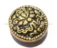 1 Bead - Big Tibetan Repousse Carved Brass Auspicious Lotus Round Disc Shape Bead with Coral Side Inlays -  B2292-1