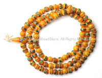 108 Beads - Tibetan Amber Copal Mala Prayer Beads with Turquoise, Coral, Brass & Copper Inlays - PB16S - TibetanBeadStore