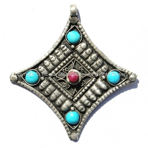 Tibetan Antiqued Diamond-Shaped Pendant with Bead Inlays - Tibetan Pendants Jewelry Making Beading Supplies- TibetanBeadStore - WM140