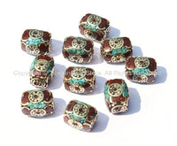 10 Beads - Tibetan Rectangle Box Beads with Brass, Turquoise & Copal Inlays - Unique Ethnic Nepal Tibet Beads - B274