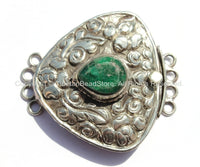 OOAK LARGE Ethnic Tibetan Repousse Carved Tibetan Silver Clasp with Green Quartz Center & Floral Details - Focal Tibetan Clasp - B2616