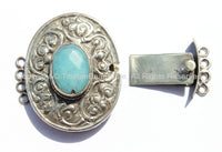 OOAK LARGE Ethnic Tibetan Repousse Carved Tibetan Silver Clasp with Aquamarine Quartz Center & Floral Details - Focal Tibetan Clasp - B2605C