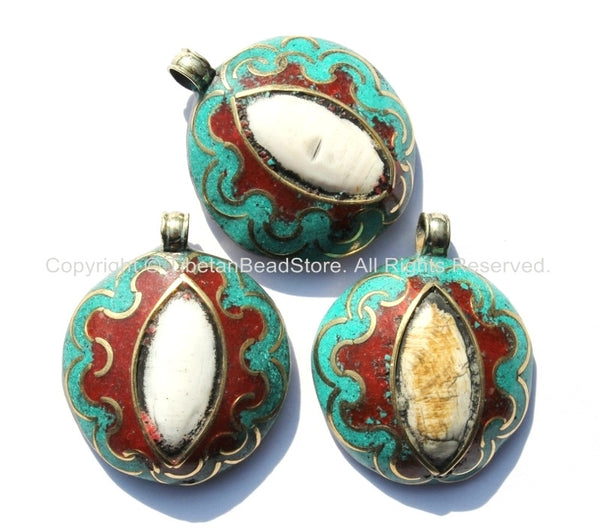 Ethnic Tibetan Reversible Naga Conch Shell Inlay Pendant with Repousse Brass Auspicious Conch & Lotus, Turquoise, Copal Inlays - WM4816