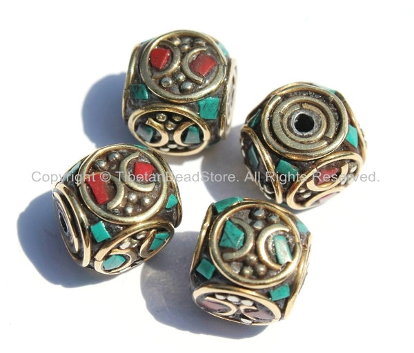 4 beads - Tibetan Cube Shaped Beads with Brass Circle, Studs, Turquoise & Coral Inlays - Ethnic Tibetan Beads - B2000-4