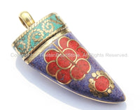 Tibetan Horn Tusk Amulet Pendant with Brass, Lapis, Turquoise & Coral Inlays - Boho Tribal Ethnic Tibetan Nepalese Horn Amulet - WM5026