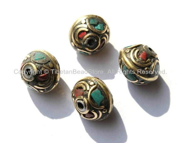 4 BEADS - Ethnic Tibetan Nepalese Floral Disc Brass Beads with Brass, Turquoise & Coral Inlays - B1800-4