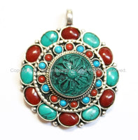 Tibetan Double Vajra Ghau Prayer Box Floral Pendant with Turquoise & Coral Inlays - Tibetan Pendant - Tibetan Jewelry - Prayer Box - WM5526