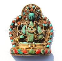 OOAK Vintage Tibetan Goldplated 92.5 Sterling Silver & Carved Old Turquoise Tara Figure with Turquoise, Coral Inlays, Fine Filigree - FJ89