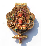 Vintage Tibetan Chenrezig & Mahakala Goldplated 92.5 Sterling Silver Ghau Amulet Pendant with Ruby, Emerald, Turquoise, Coral Inlays - FJ92