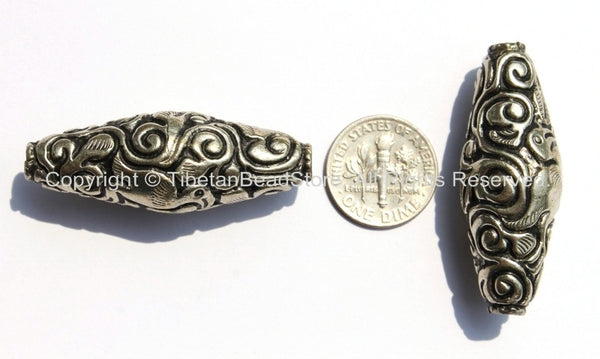 1 bead - Large Tibetan Silver Long Bicone Repousse Bead with Bird & Floral Details - 16mm x 42-43mm - Large Focal Pendant Bead - B2152-1
