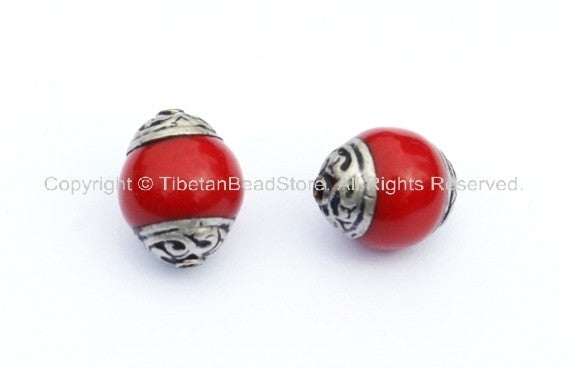 2 BEADS - Tibetan Red Coral Beads with Tibetan Silver Caps - Handmade Tibetan Jewelry - Red Tibetan Beads - B908-2