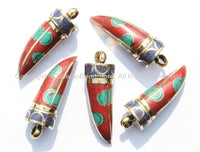 Tibetan Horn Tusk Amulet Pendant with Brass, Turquoise, Lapis & Coral Inlays - Boho Tribal Ethnic Tibetan Nepalese Horn Amulet - WM5019