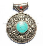 Large Ethnic Tibetan Pendant with Repousse Carved Lotus Floral Details & Turquoise, Coral Inlays - Large Tribal Tibetan Pendant - WM5433