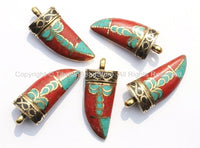 Tibetan Horn Tusk Amulet Pendant with Brass, Coral, Turquoise, Black Copal Inlays - Boho Tribal Ethnic Tibetan Horn Amulet - WM5039