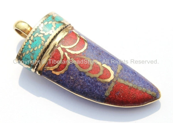 Tibetan Horn Tusk Amulet Pendant with Brass, Lapis, Turquoise & Coral Inlays - Boho Tribal Ethnic Tibetan Nepalese Horn Amulet - WM5033