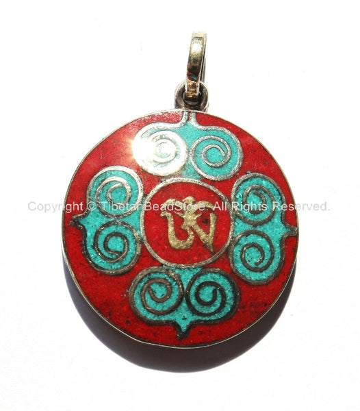 Tibetan Om & Double Vajra Pendant with Brass, Turquoise, Coral Inlays - Om Aum Ohm Pendant - Yoga Meditation Jewelry - WM2996