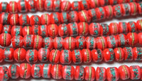 20 BEADS 8mm Red Bone Inlaid Tibetan Beads with Turquoise & Coral Inlays - Ethnic Nepal Tibetan Bone Beads - Mala Supplies- LPB13S-20