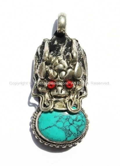 2 PENDANTS - Tibetan Dragon Pendant with Turquoise & Red Coral Bead Inlays -WM290-2