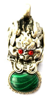2 PENDANTS - Tibetan Dragon Pendants with Malachite & Coral Inlay - WM292-2