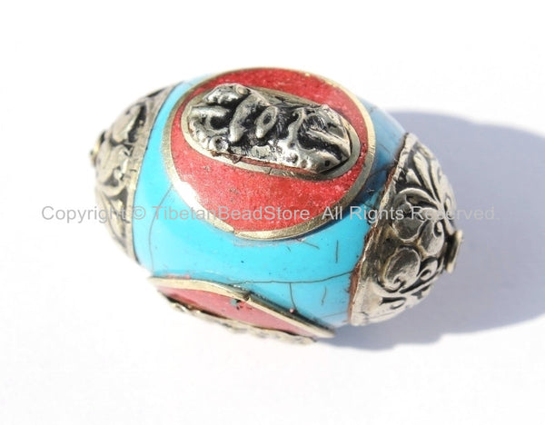 Large Tibetan Blue Crackle Resin Bead with Tibetan Silver Caps & Auspicious Conch, Red Copal Inlays - LARGE Ethnic Focal Bead - B2512-1