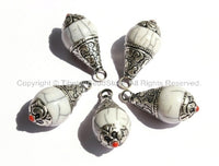 5 PENDANTS - Tibetan White Crackle Resin Charm Pendants with Tibetan Silver Caps - Handmade Ethnic Tibetan Pendant - WM2839-5