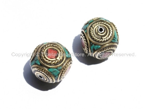 2 beads - Nepal Tibetan Brass Bead with Turquoise & Coral Inlay 16mm x 16mm - Nepal Tibetan Cube Inlay Beads - B1150-2