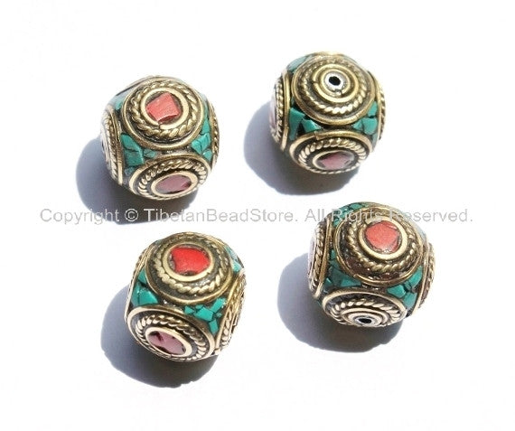 4 beads - Nepal Tibetan Brass Bead with Turquoise & Coral Inlay 16mm x 16mm - Nepal Tibetan Cube Inlay Beads - B1150-4