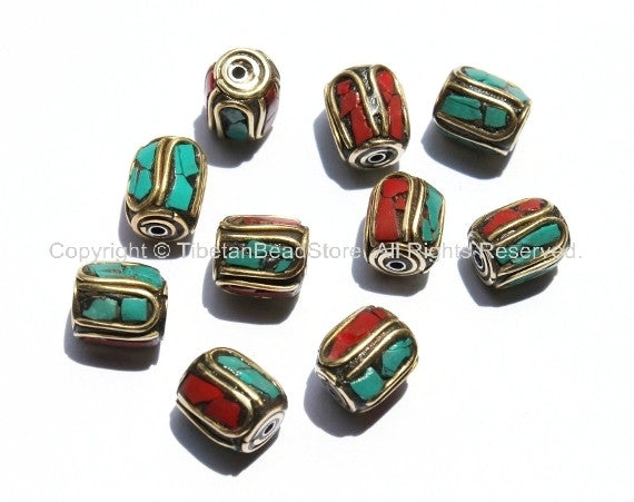 10 beads - Nepal Tibetan Brass Bead with Turquoise & Coral Inlay 10-12mm x 9-11mm -B1140-10