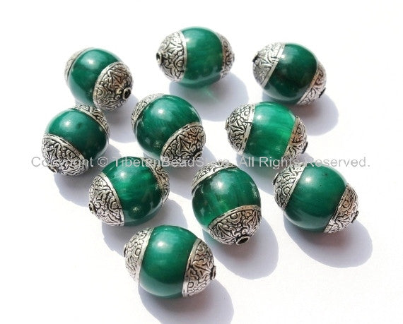 10 beads - Tibetan Green Copal Beads with Double Vajra Filigree Repousse Tibetan Silver Caps - Quality Ethnic Tibetan Unique Beads- B1393-10