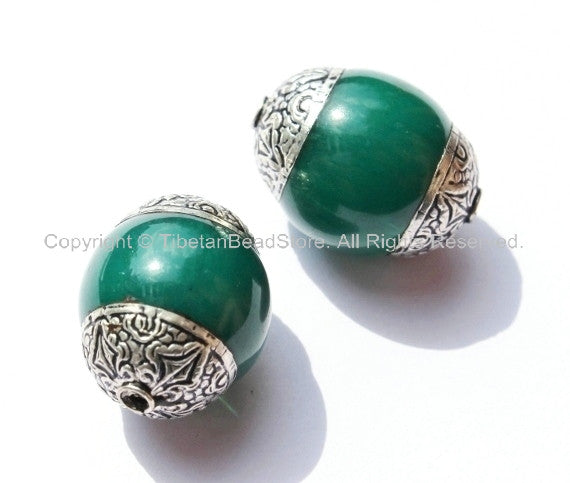 2 beads - Tibetan Green Copal Beads with Double Vajra Filigree Repousse Tibetan Silver Caps - Quality Ethnic Tibetan Unique Beads - B1393-2