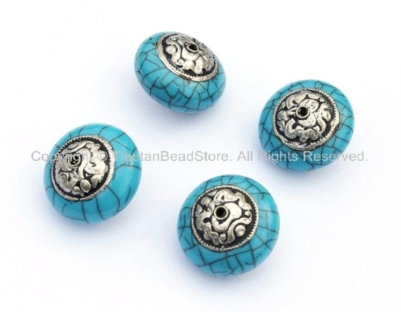 4 Beads - Tibetan Blue Crackle Resin Round Bead with Tibetan Silver Auspicious Conch Caps - Ethnic Beads - B896-Reg
