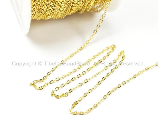 Gold Fill Link Chain 1.5mm - 5 FEET - Chains & Findings- Jewelry Chains- Gold Fill Chains - TibetanBeadStore  Jewelry Supplies - C33-5