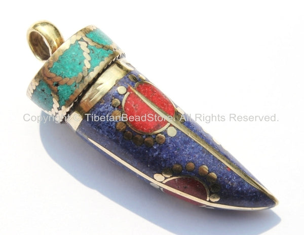 Tibetan Horn Tusk Amulet Pendant with Brass, Turquoise, Lapis & Coral Inlays - Boho Tribal Ethnic Tibetan Nepalese Horn Amulet - WM5020