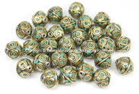 10 BEADS Tibetan Brass Beads with Turquoise Inlays - Beads- TibetanBeadStore Ethnic Tribal Brass Inlay Beads- Nepal Tibetan Beads - B2766-10 - TibetanBeadStore