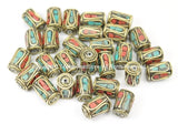 10 BEADS Tibetan Barrel Tube Shape Brass Beads with Turquoise, Coral Inlay- TibetanBeadStore Brass Inlay Beads Nepal Tibetan Beads  B2753-10
