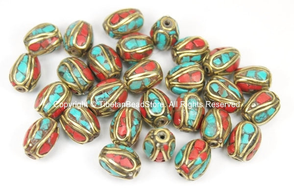 4 BEADS Tibetan Beads with Brass, Turquoise, Coral Inlays- TibetanBeadStore Ethnic Tribal Brass Inlay Beads- Nepal Tibetan Beads - B2759-4