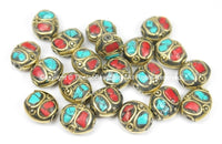 2 BEADS Nepal Tibetan Beads with Brass, Turquoise, Coral Inlays - TibetanBeadStore - Brass Inlay Beads Nepal Tibetan Beads  B2763-2