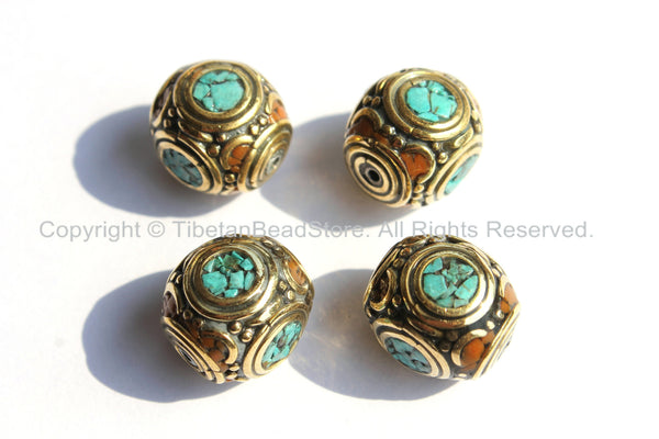 4 Beads - Tibetan Thick Cube Beads with Brass, Turquoise & Red Copal Inlays - Box Boxy Square Cube Shaped Thick Inlay Beads -  B2223-4