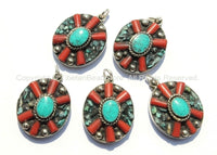 2 PENDANTS - Tibetan Flower Pendants with Turquoise & Coral Inlays - Tibetan Pendant - Boho Ethnic Tribal Tibetan Jewelry - WM6071-2