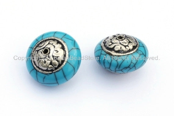 2 Beads - Tibetan Blue Crackle Resin Round Bead with Tibetan Silver Auspicious Conch Caps - Ethnic Beads - B895-Reg