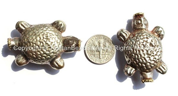 1 BEAD - Tibetan Repousse Tibetan Silver Turtle Tortoise Bead - Unique Ethnic Tribal Tibetan Focal Animal Beads - B2182-1