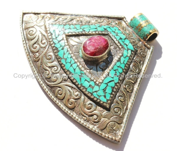 LARGE Ethnic Tibetan Tribal Style Pendant with Repousse Floral Details, Turquoise & Faceted Ruby Quartz Inlays - Tibetan Pendant Jewelry
